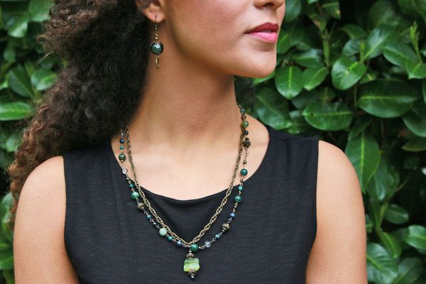 The Gracen Necklace is a compelling mix of jade, turquoise and bronze.  #Carolilyconfidence