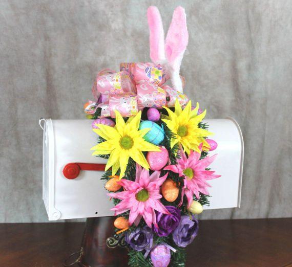 Easter Mailbox, Bunny Mailbox Swag, Mailbox Decoration, Easter Ribbon, Easter Eggs, Mailbox Swag, Pink Mailbox Cover, Mailbox Cover Daisy