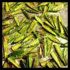 Spicy Okra Chips  prheat oven to 500 !  2 lbs okra*, sliced length-wise  1/4 cup olive oil  Seasoned Salt*  2 tablespoons kosher salt  1/4 teaspoon chili powder  1/2 teaspoon cumin  1/2 teaspoon smoked paprika  1/2 teaspoon ground coriander  1/2 teaspoon dried oregano  pinch serrano powder (*possible subs- red pepper flakes or cayenne pepper)