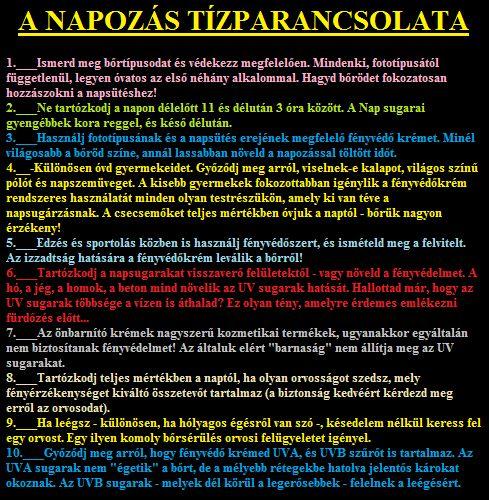 A NAPOZÁS Tízparancsolata