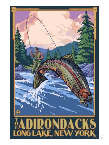 The Adirondacks - Long Lake, New York State - Fly Fishing Poster by Lantern Press at AllPosters.com