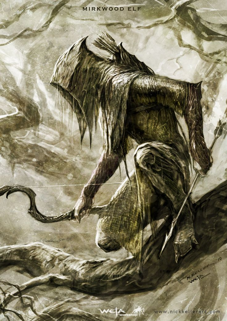 I love how sinister the concept art is for the wood elves in the hobbit, it makes them look really menacing!