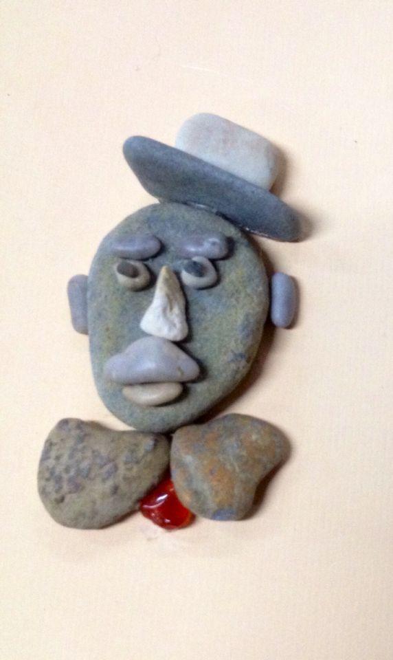 Pabble art stone man portrait by gülen