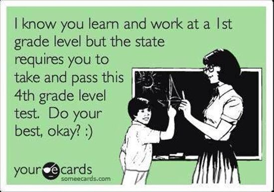 Always what I think we see what grade level students are on! Umm, they're still required to pass the grade level material! WTH am I actually supposed to do with that grade level info besides be aware??