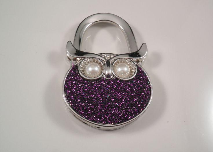 Purple sparkle handbag hanger Foldable and clips onto your bag Keep your expensive handbag off the floor
