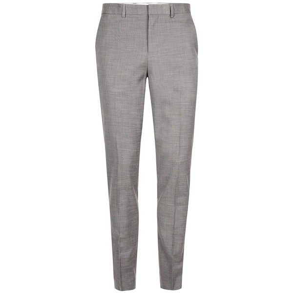 TOPMAN Grey Marl Muscle Fit Suit Trousers (£50) ❤ liked on Polyvore featuring men's fashion, men's clothing, men's pants, men's dress pants, mid grey, mens zip off pants, mens zipper pants, mens stretch pants, mens stretch dress pants and mens gray dress pants