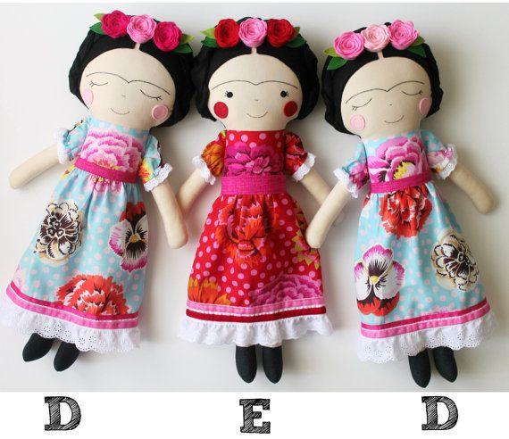 Frida Kahlo handmade dolls. Made to order. Rag doll to by blita