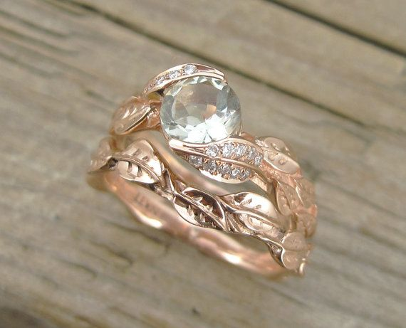 Wedding Set Rose Gold Engagement Ring Set Leaves Ring Set