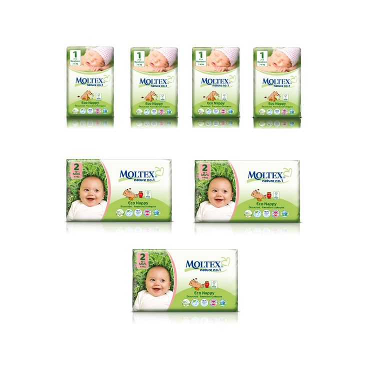 Be Ready for Your New Baby with Guilt Free Disposable Nappies What you get: 4 packs of Newborn Moltex Eco 3 packs of Size 2 Mini Moltex Eco Free Samples of Size