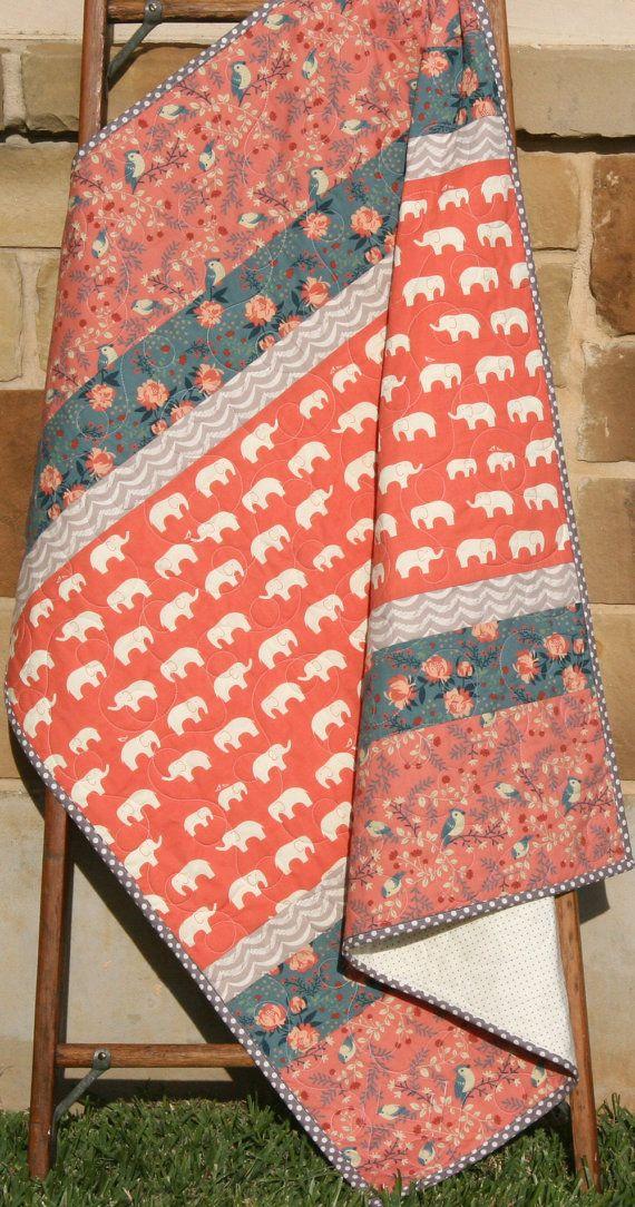 Baby Quilt, Girl Modern Blanket, Nursery Bedding, Birch Organic Fabrics, Crib Quilt Decor, Coral Mauve Pink Navy Blue, Elephants Flowers by SunnysideDesigns2