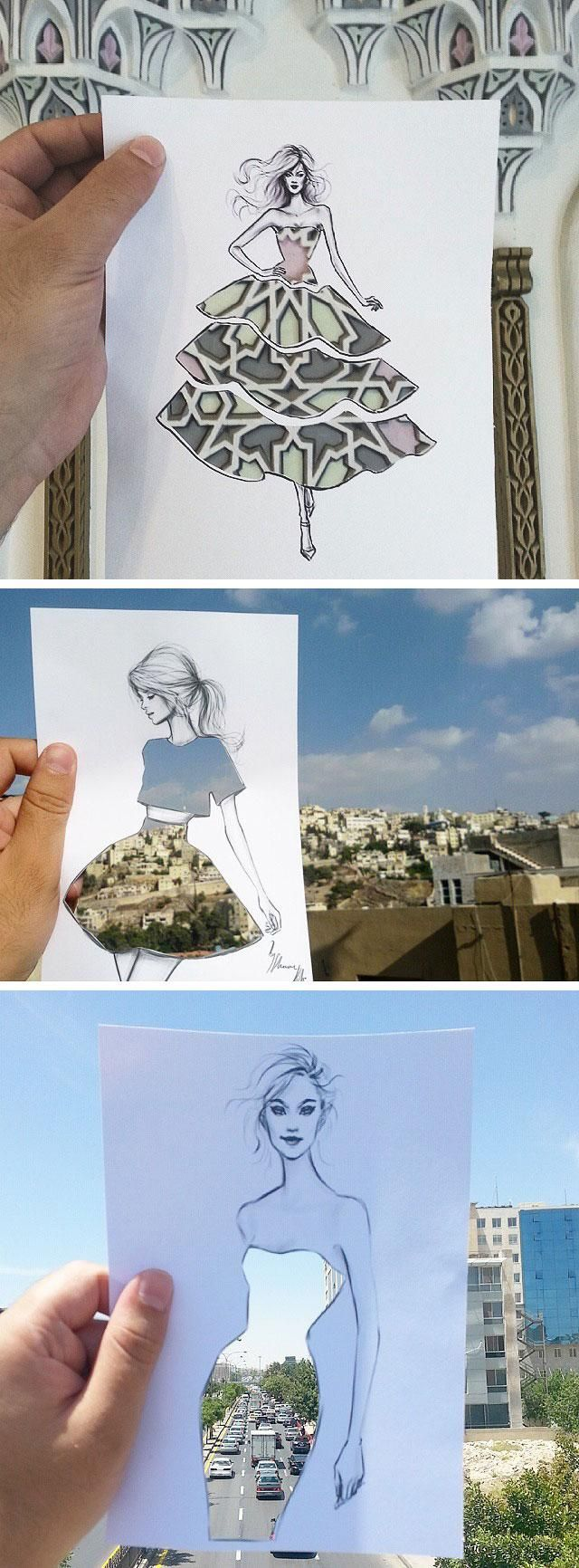 Fashion illustrator Shamekh Bluwi wanted to share his traveling experiences with his followers so he decided to blend his high-fashion with the visual elements of his daily surroundings.
