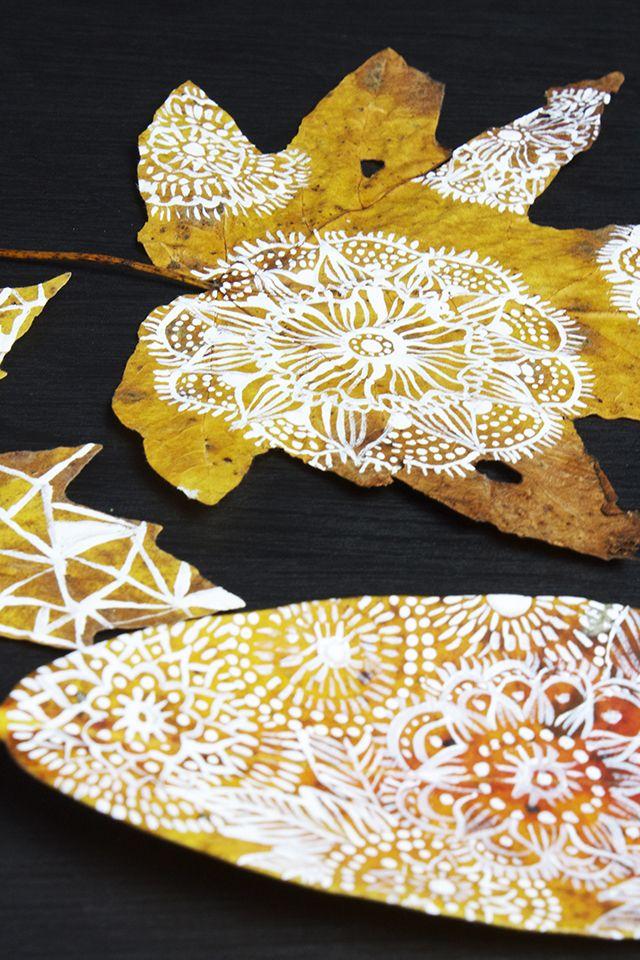 alisaburke- painted fall leaves