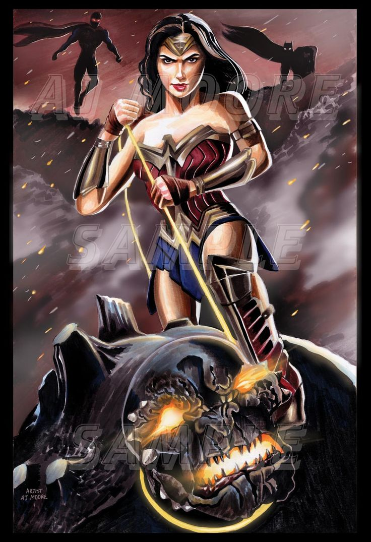 Inspired by the film Batman vs Superman Medium: Markers, Digital glows and smoke. Portrayed by: Gal Gadot  Chocking out Doomsday while Superman and Batman watch in the distance.  #wonderwoman #artistajmoore #galgadotwonderwoman #galgadot #batmanvssuperman #superman #batman #doomsday #doomsdaysuperman