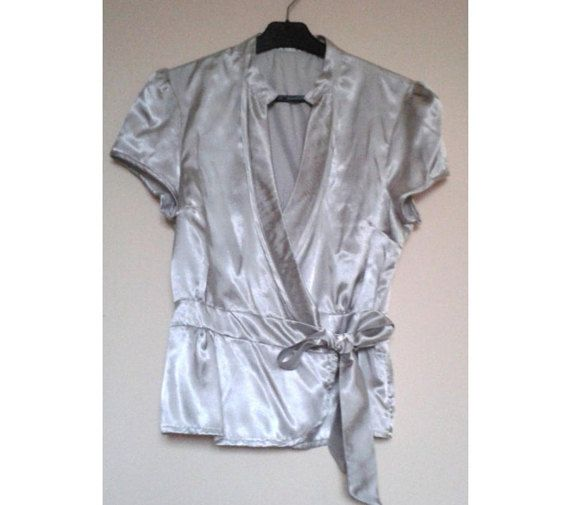 Shirt with BowSatin Bow shirtSilver Satin by VintageBrandNew