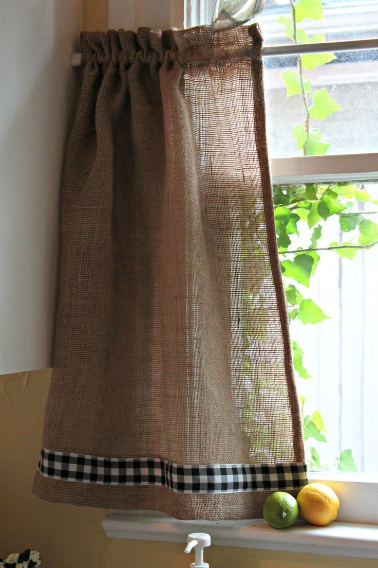 Burlap and gingham curtains....well, ok, but I like the softer texture ...
