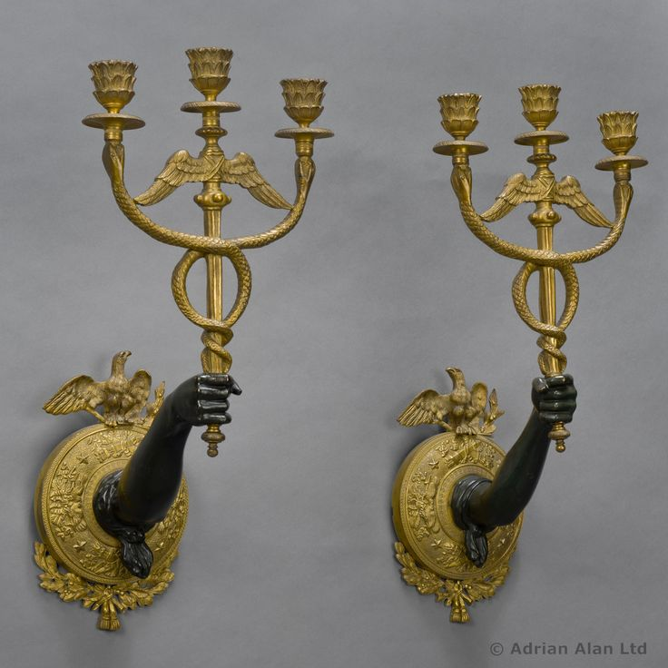 A Fine And Unusual Pair Of Gilt And Patinated Bronze Neoclassical  Three Light Wall Appliques. Antique Wall LightsWall ...