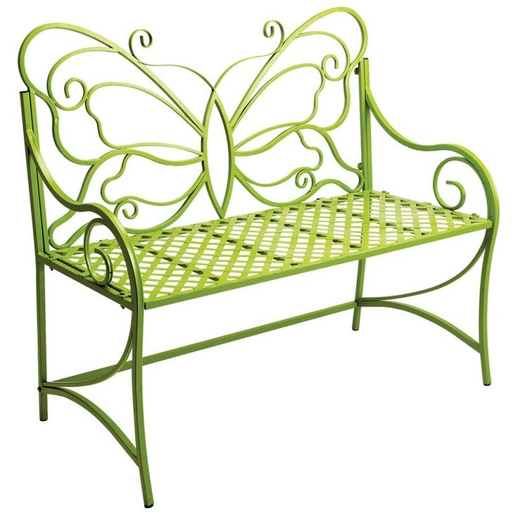 Butterfly Back Basketweave Bench-Citron