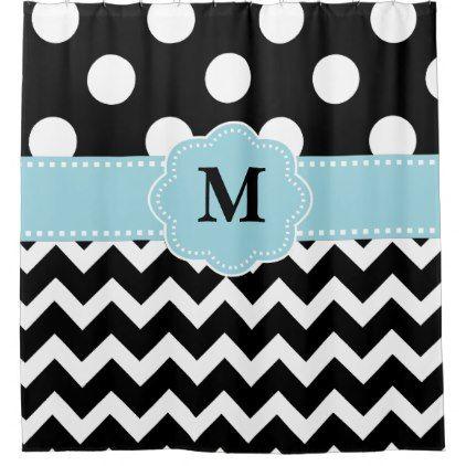 Black Light Blue Dot Chevron Monogram Shower Curtain - shower curtains home decor custom idea personalize bathroom