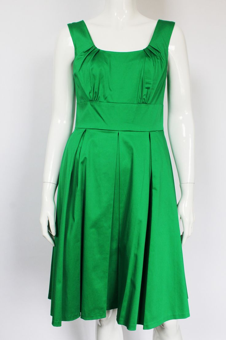 Calvin Klein green pleated sleeveless dress with full circle skirt and back zip