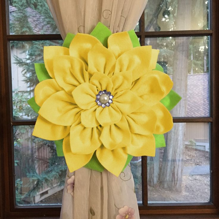How about this lovely yellow flower curtain holdback? Totally new creation!