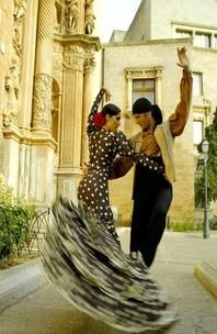 "Flamenco ~ One of the most popular dances of Spain ~ ""typical in the south of Spain...The flamenco dress (may) have different colors,forms, sizes, but all of them have a flounce."""