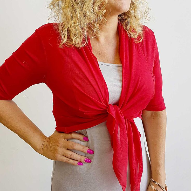The Chicago Cardi in Ruby Red