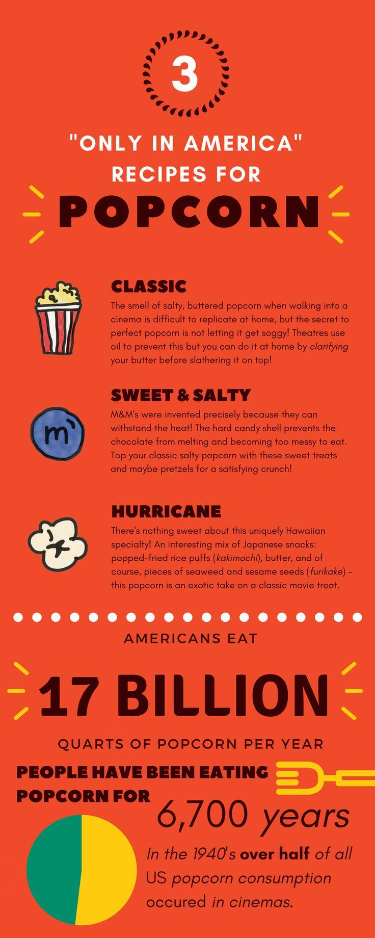 3 Easy American Popcorn Recipes    #Popcorn #Infographic #America #Recipes #Theatres