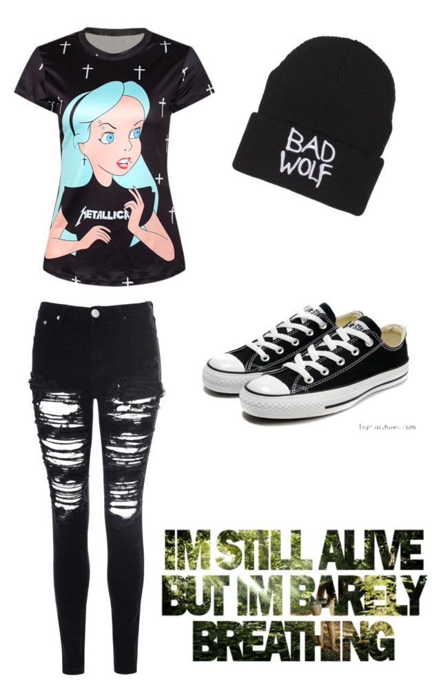 """Emo mode"" by marytheknight ❤ liked on Polyvore featuring Converse and Glamorous"