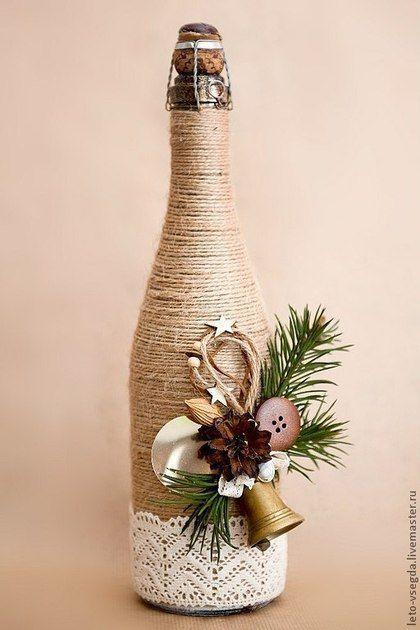 """Новогоднее шампанское """"Винтаж"""" - бежевый,шампанское,новогодне шампанское"""