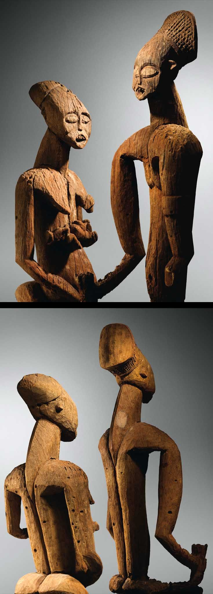 Africa | Portraits of King Pokam and Queen Yugang, Batoufam Kingdom.  Bamileke, Cameroon | Wood.  H:  101 and 102 cm | ca. early 20th century