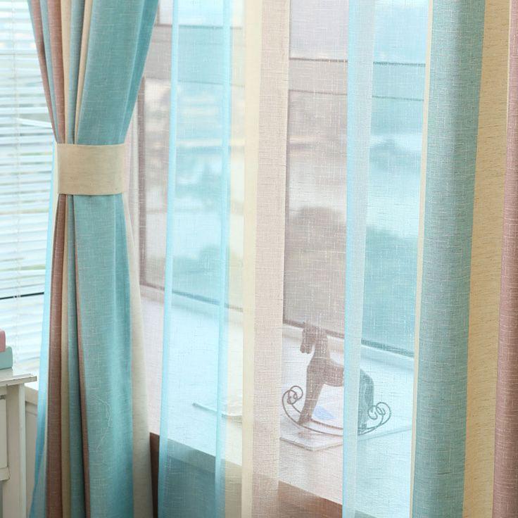 Цветные полосы шторы вуаль экран окно пряжи Панель современный простой гостиной шторы ткань тюль Лен t & 391 #20 купить на AliExpress
