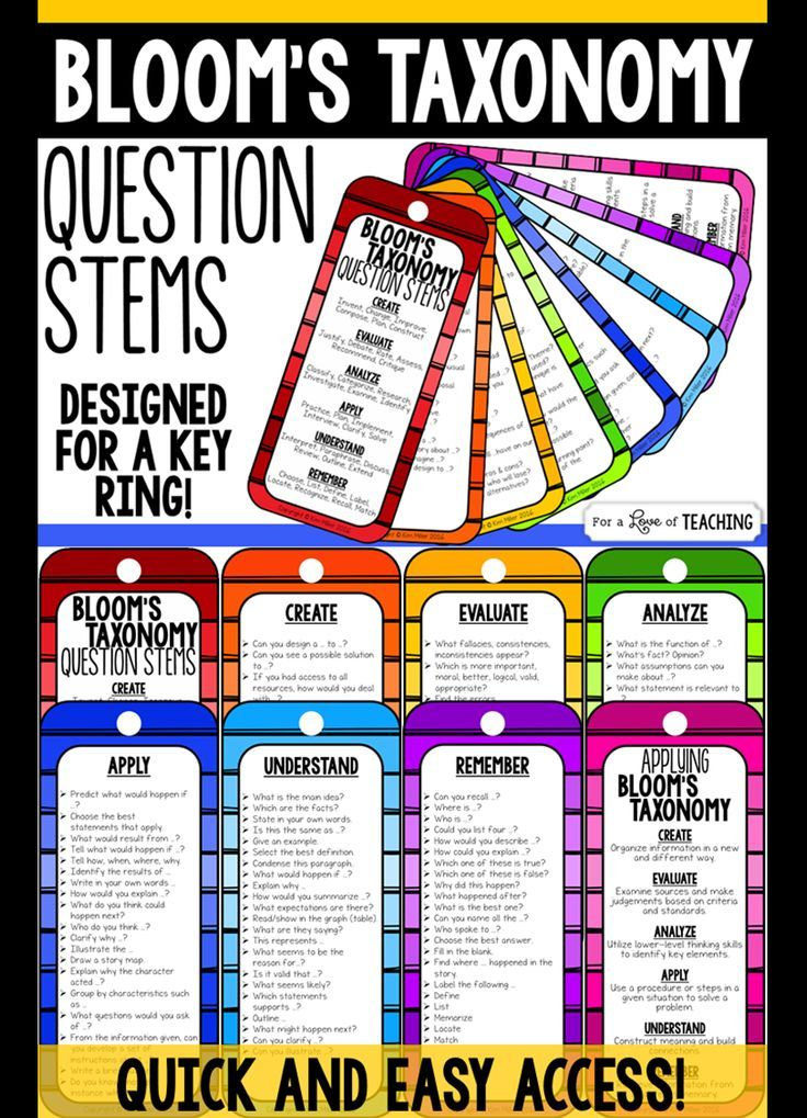 Revised Blooms Taxonomy Questions Stems are designed for a key ring. Laminate, hole punch at the top and put on a key ring for fast and easy access to question stems - anytime!                                                                                                                                                                                 More