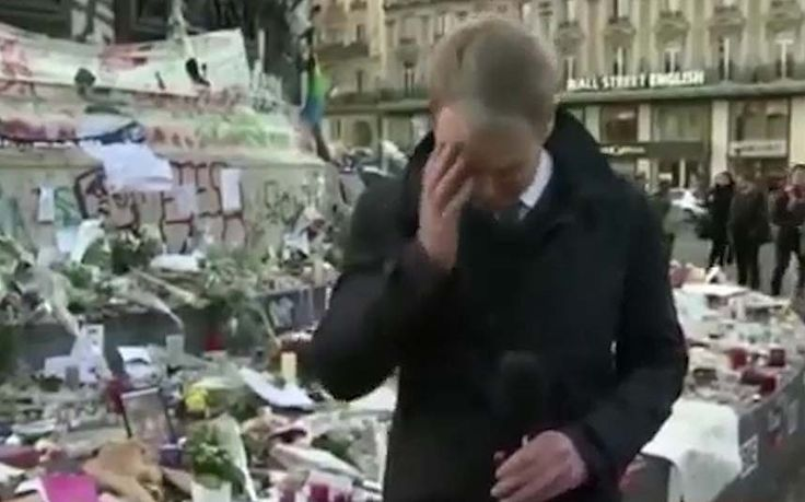 BBC Breakfast's Graham Satchell struggles to hold back tears during a live   broadcast from Paris on Tuesday