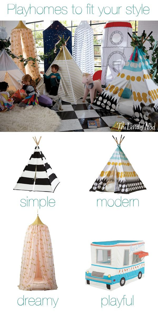 Create a playspace anyplace with a teepee or playhome. By choosing a playhome that's both functional and chic, you can add interest to your living space, while also keeping the little ones busy.