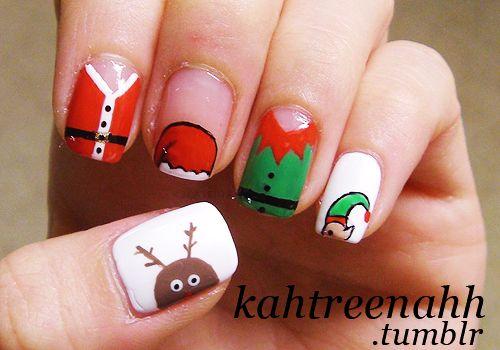 Cute Christmas Nail Art Design For Short Nails