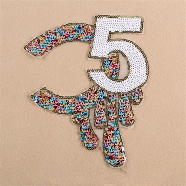 Блестки знак большой 5 логотип патчи для одежды, рубашка, harajuku, женщины джинсы, марка одежды, шорты, кожаная куртка, шарф, cap
