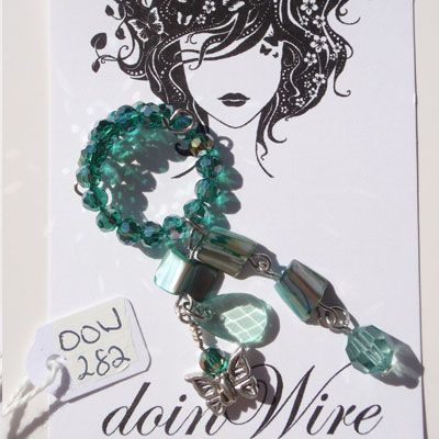 Wine Charm Jade green crystals, jade green beads and butterfly charm. DOW282