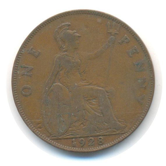 George V One Penny 1928 Coin Code: RSC2209 by COINSnCARDS on Etsy