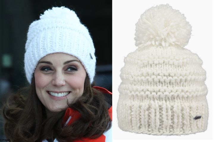 Kate wore the Barts Jasmin Beanie (with thanks to Sophia). The women's knitted beanie is hand knitted in thick, soft acrylic wool. The £27 hat is on sale at Urban Surfer. It's also available at Cotswold Outdoor, Amazon, Tesco Direct and the Barts website. Following the life and style of our favourite royal the Duchess of Cambridge.