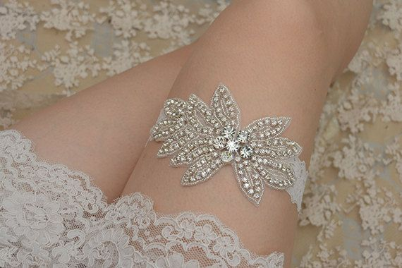 crystal bridal garter rhinestone garter vintage by annabrides