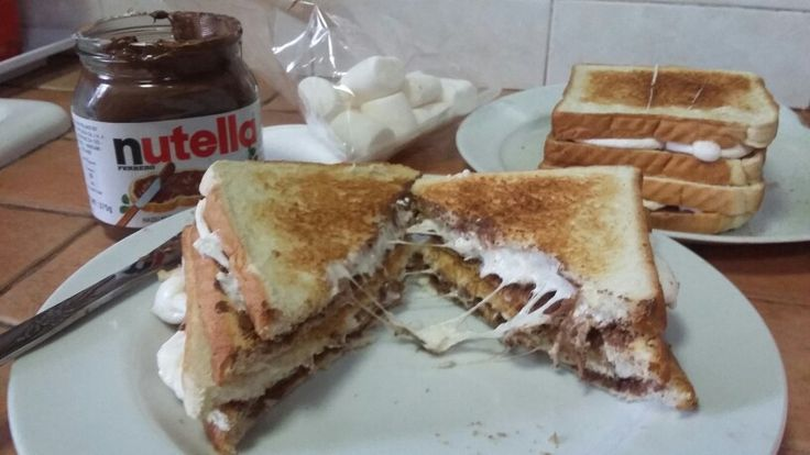 Toasted Bread Nutella Mashmallow Stack