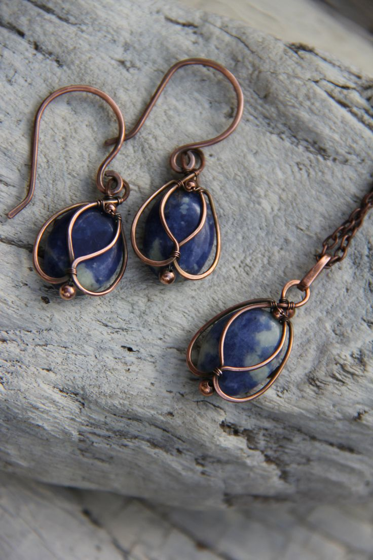 Copper and Sodalite Blue Bells wire wrap by Keepandcherish on Etsy
