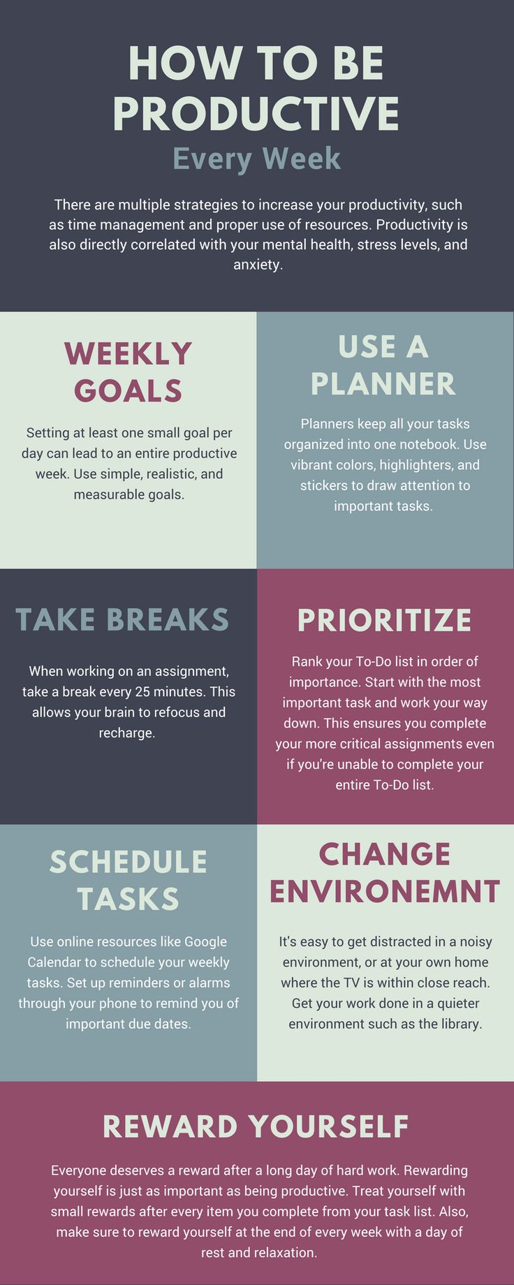 There are multiple strategies to increase your productivity, such as time management, proper scheduling, and using the right resources. Productivity is also directly correlated with your mental health, stress levels, and anxiety.