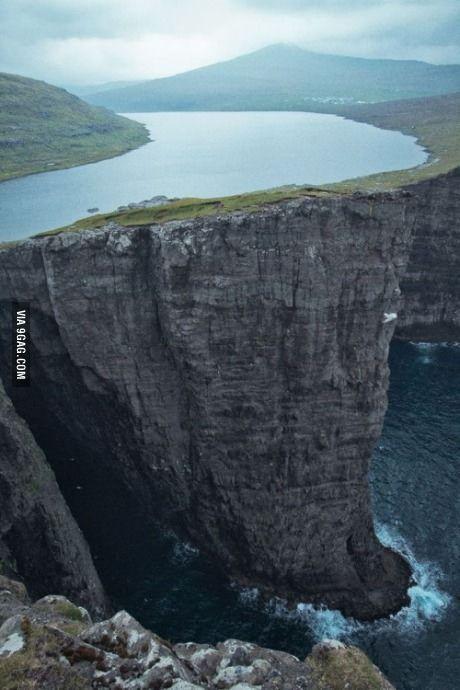 Lake Sorvagsvatn, located in the Faroe Islands between Norway and Iceland. It is 30 meters above the Ocean.