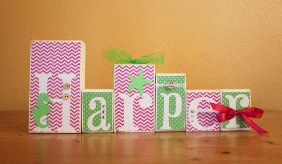 Nautical Nursery- Seahorse Nursery- Pink and Green Nursery - Beach Nursery- Letter Blocks- Baby Name Blocks- Girl Nautical