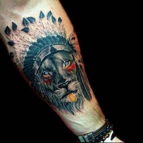 native american lion tattoo kızılderili aslan dövmesi