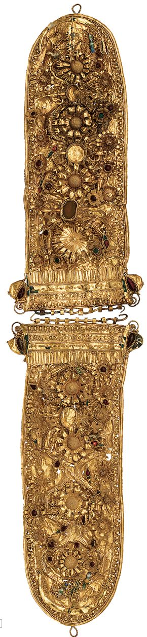 Golden belt decorated with rosettes and inlayed semi-precious stones. Ca. 200 B.C.