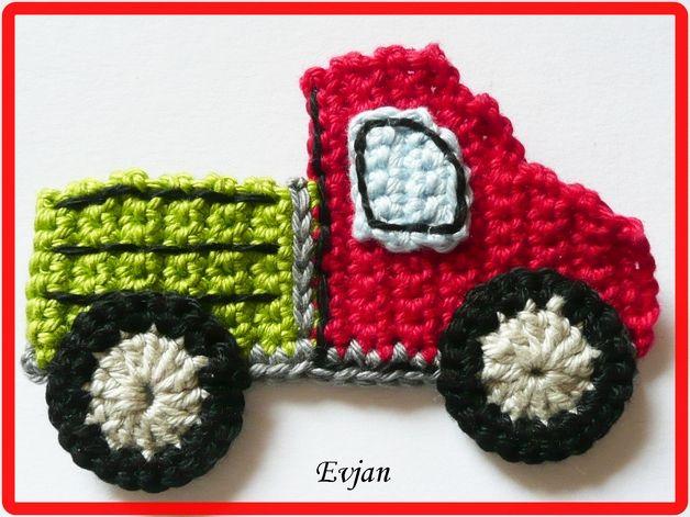 Häkelapplikationen - ♥ Lastwagen LKW ♥ - ein Designerstück von Evjans bei DaWanda