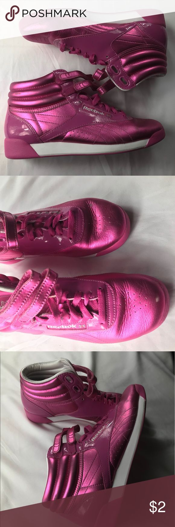 Reebok retro metallic pink vintage sneakers size 7 Loved a little retro Reebok high top sneakers. Good condition with discoloration on toe as slight imperfection. Pet free smoke free home. Offers welcome. Reebok Shoes Sneakers