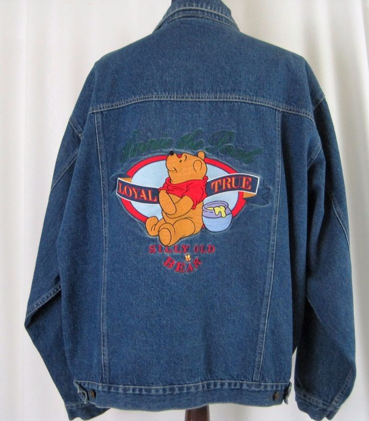 """Disney Winnie the Pooh Jean Jacket. Back says """"Loyal"""" """"True"""" """"Silly Old Bear"""". Front left chest pocket says """"Pooh"""" """"Since 1966"""" """"Friends Forever"""". Chest 27"""". Size Large. Length 27-1/2"""". Sleeve 25"""".   eBay!"""